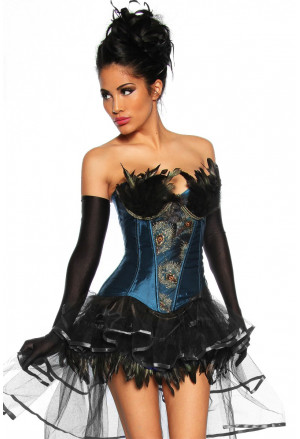 Beautiful blue burlesque corset with feather