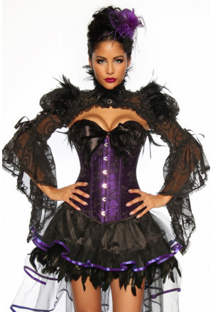 Beautiful purple corset with feather and ribbon