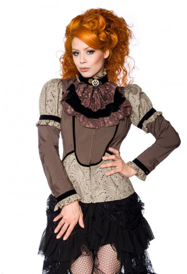 Unusual steampunk blouse with paisley pattern