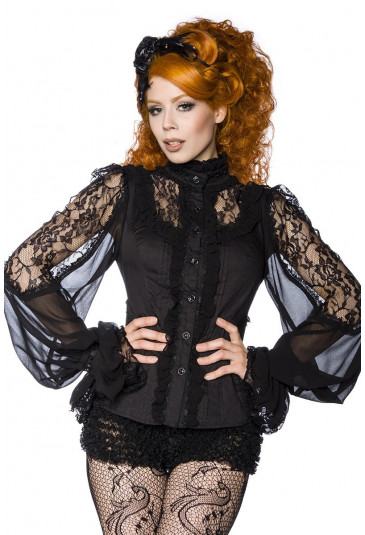 Steampunk close-fitting blouse with stand-up collar