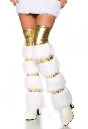 Gold glossy fur leg warmers