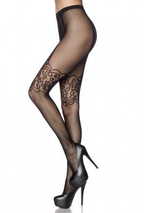 Seductive black fishnet floral pantyhose