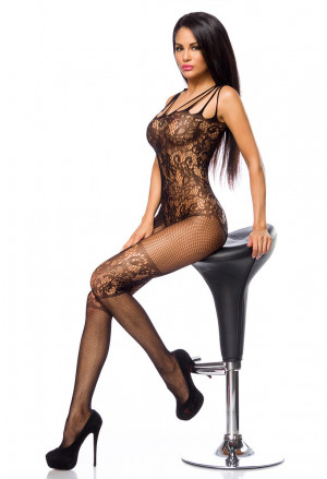 Black bodystockings with floral pattern