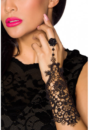 Great gothic lace ornaments bracelet with black rose