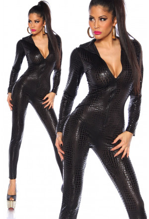 Elastic black wetlook overall
