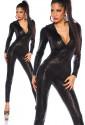Elastic black wetlook overall