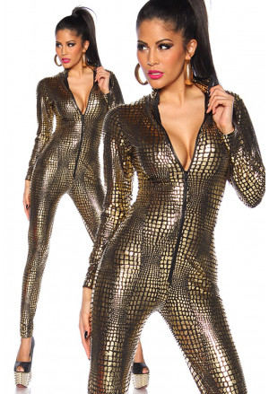 Elastic golden wetlook overall
