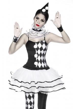 Jedinečný bielo-čierny harlekýn kostým
