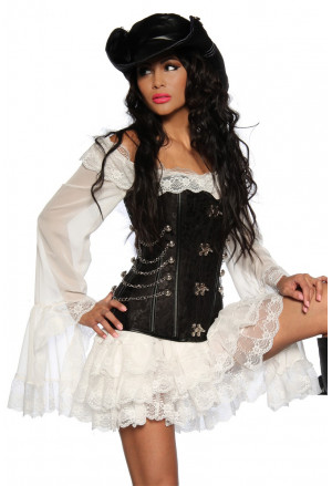 Graceful white pirate dress / blouse