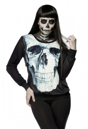 Women printed hoodie with Skull