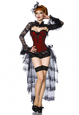 Red floral brocade corset