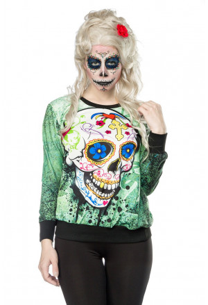 Women printed hoodie with Mexican Skull