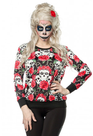 Women printed hoodie with roses and skull