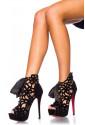 Pompézne čierne topánky s mašľou