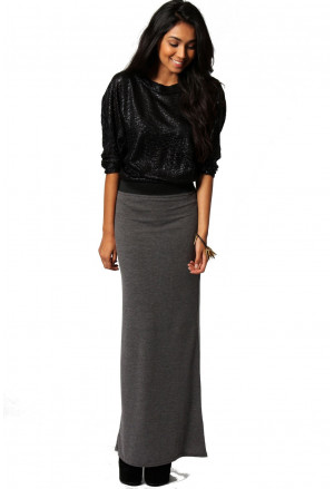 Maxi jersey charcoal skirt with contrast waistband