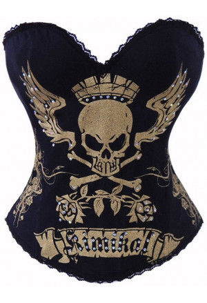 Black Kimikal Scull tatto corset