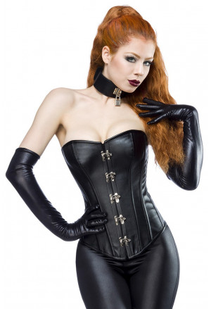 Leatherette corset with rivets