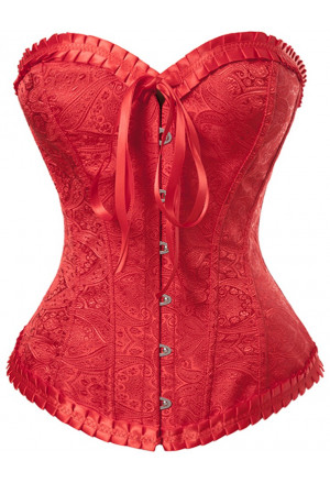 Elegant red womens brocade corset