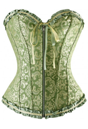 Green corset vamp with zipper