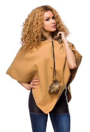 Warm poncho with hood