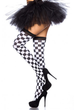 Playful chessboard knee socks