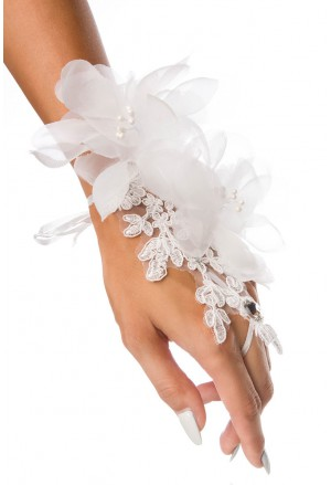 Wedding white floral finger gloves