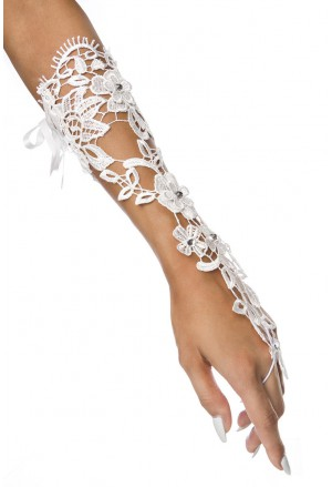 Stylish white crochet fingerless gloves