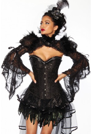 Spectacular Gothic black bolero with feathers