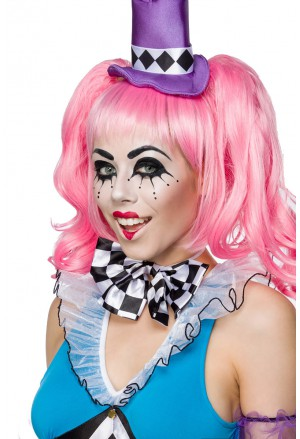 Pink harlequin wig party with pony tails