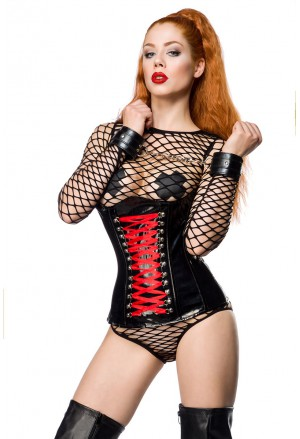 Black gothic faux leather underbust corset