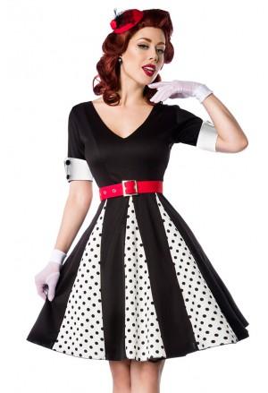 Originálne retro šaty s bielymi bodkami