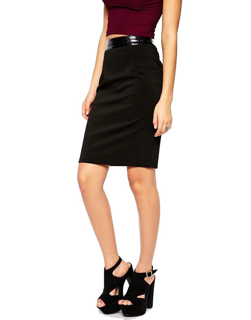 90be99d75e17 Elegantná čierna sukňa s koženkovým pásom - SELECTAFASHION.COM