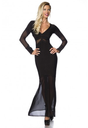 Luxury black maxi bandage dress with mesh