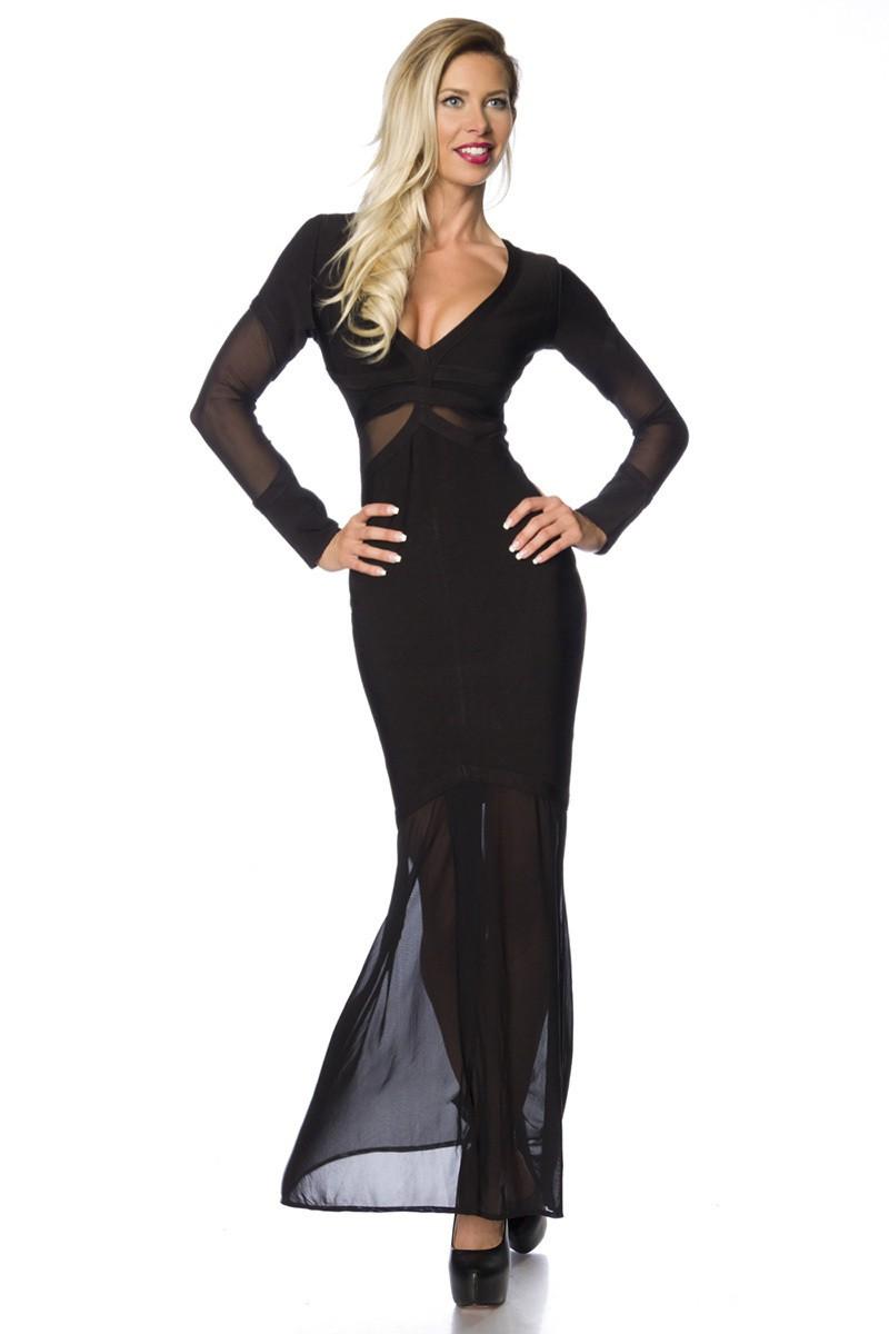 Dlhé čierne bandážové tvarujúce šaty - SELECTAFASHION.COM 6316fdc3358