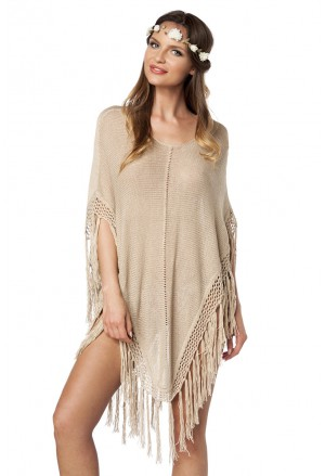Hippie knit poncho with tassels