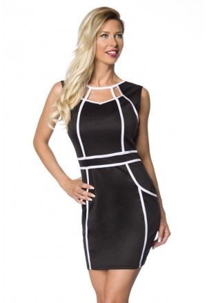 Short cutout black and white dress