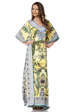 Colorful summer kaftan maxi dress with rhinestones