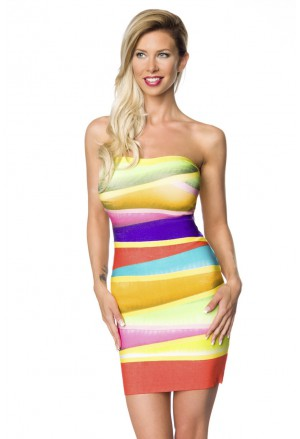 Ultra farebné bandážové šaty GLORIA