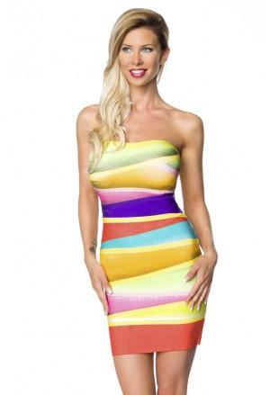 Ultra rainbow neon color bandage dress GLORIA