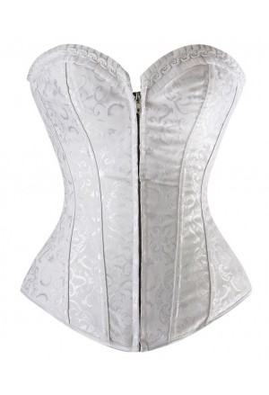 White vamp corset with zipper