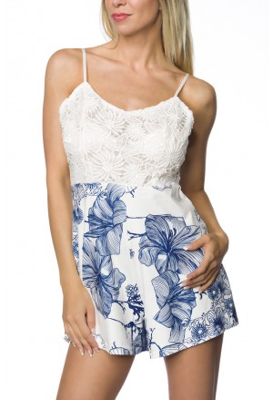 Short lace blue floral playsuit