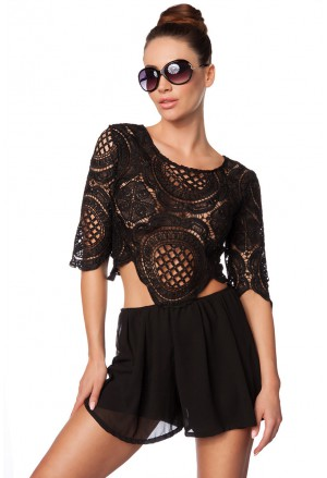 Black summer crochet lace pants playsuit