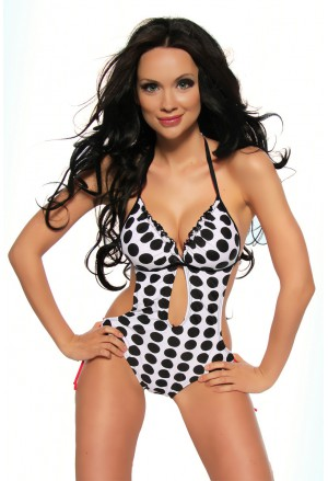 Dots monokini swimwear with push up effect