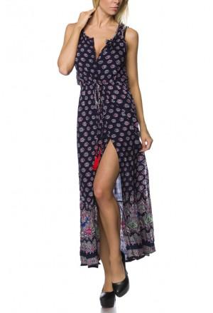 Feminine strap oriental backless maxi dress