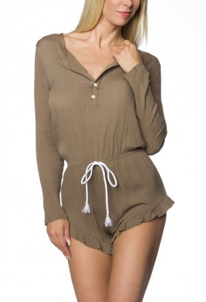 Casual crepe playsuit with long sleeve