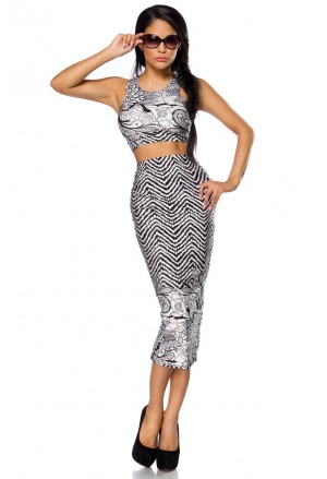 Set of short top with long pencil skirt LISA