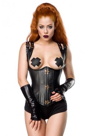 Extravagant black faux underbust buckles corset