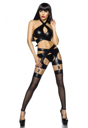 Luxury hot black wet look cut out set Saresia