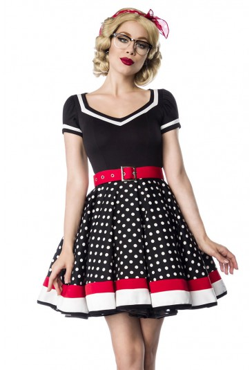 Kindly retro dress with full skirt and V-neck