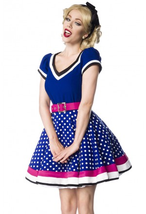 Kindly retro dress with full skirt and V-neck
